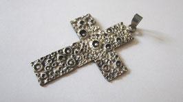 Croce realizzata a mano in argento brunito (cr5)