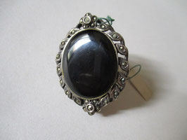 Spilla argento zirconi bruniti e onice nera ovale