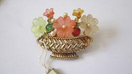 Spille in argento placcato perline, fiori in vetro colorato e satinato e strass