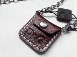 D&G Jewels  collana acciaio borsellino in pelle