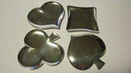 Piccoli vassoi in argento a forma dei simboli delle carte