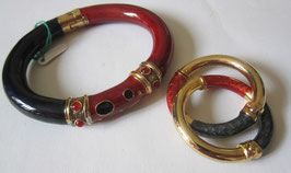 Braccialetto e orecchini in argento smaltato e placcato oro