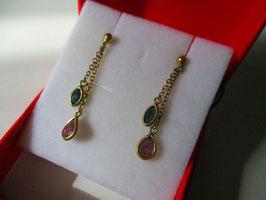 Orecchini pendenti rubini e zaffiro