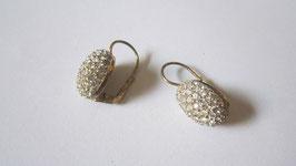 Orecchini in argento placcato ovali con zirconi