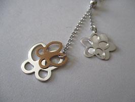 Collana in argento farfalle e fiori pendenti