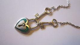 Collana argento smaltato lucchetto