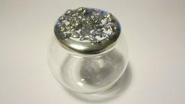 Vasetto tondo in vetro coperchio in argento 925