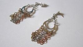 Orecchini in argento e rame catenella pendente