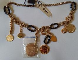D&G collana acciaio placcato oro con pendenti