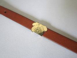 Braccialetto in pelle marrone chiaro con simboli in oro