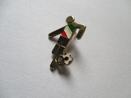 Spilla calcio Italia in argento smaltato e placcato oro