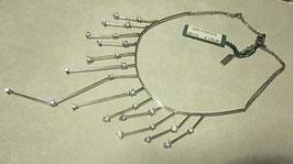 Collana con girocollo semirigido in argento con brillantini strass