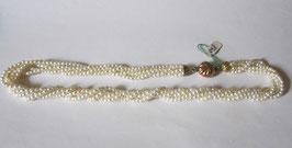 Collana perle 3mm diametro fermaglio a fiore