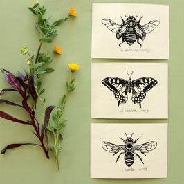 Lot de 3 gravures d'insectes, linogravures originales datées et signées