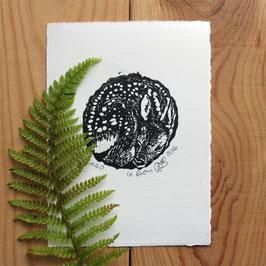 Gravure sur bois le faon
