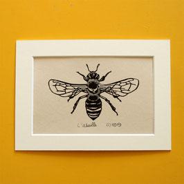 L'abeille, linogravure originale datée et signée