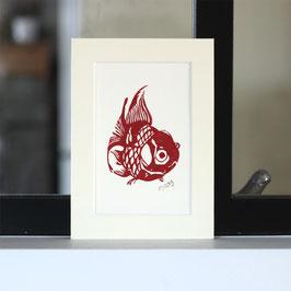 Le poisson rouge, linogravure originale signée et datée