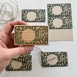 Tampon pour étiquettes cadeaux de Noël (rectangle)