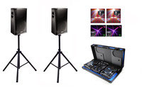 Lloguer equip de so complet 1000w amb efectes LED i cabina Dj amb micròfon. Lloguer material Dj
