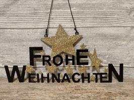 "Schriftzug ""Frohe Weihnachten "" Metall schwarz/gold"