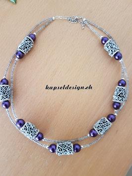 Halskette doppelt in violett