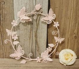 Kranz  zum aufhängen mit Schmetterlingen Rosa