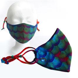 Mermaid Schutzmasken Blau-Grün-Dunkelrot