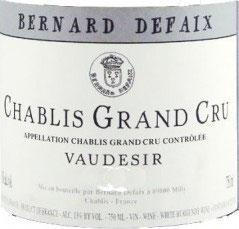 Bernard Defaix Chablis Grand Cru Vaudesir