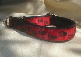 Zugstopp-Pfötchenband 2,5 cm, rot-schwarz