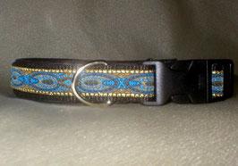 Blaue Pfauenfeder-schwarz, Klickverschluss,  2,5 cm