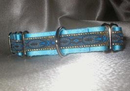 Blaue Pfauenfeder-eisblau, Martingale, 2,5 cm