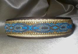 Blaue Pfauenfeder-beige, Klickverschluss,  2,5 cm