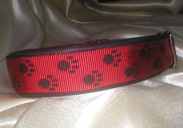 Zugstopp-Pfötchenband 4 cm, rot-schwarz