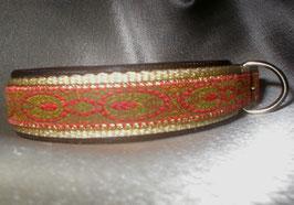 Rote Pfauenfeder-beige, Klickverschluss,  2,5 cm