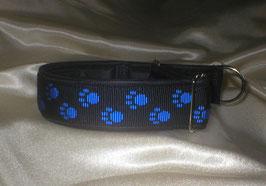 Zugstopp-Pfötchenband 4 cm, schwarz-blau