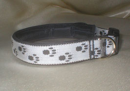 Klickverschluss-Pfötchenband 2,5 cm, weiß-schwarz