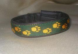 Klickverschluss-Pfötchenband 2,5 cm, grün-gelb