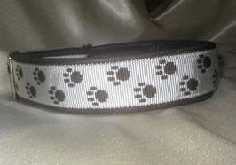Zugstopp-Pfötchenband 4 cm, weiß-schwarz