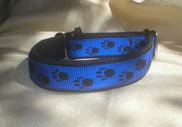 Zugstopp-Pfötchenband 2,5 cm, blau-schwarz