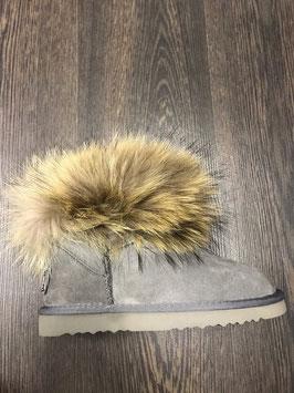 Fur Boots Grau - Natur