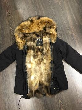 Lux Fur Lining Parka Schwarz