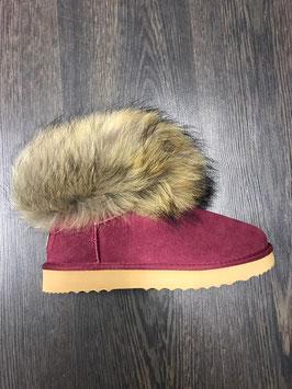 Fur Boots Weinrot - Natur