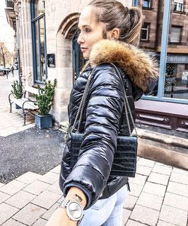 Daunen Jacke in Schwarz mit Echtpelz Kragen