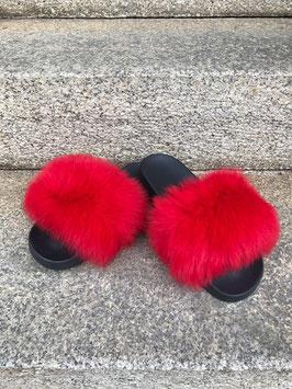 Fox Fur Slides in Rot