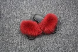 Fox Fur Slides in Dunkel-Rot