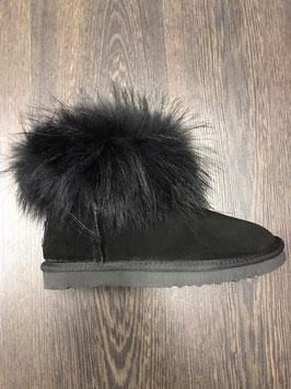 Fur Boots Schwarz - Schwarz