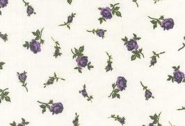 Leinen, weiß mit lila Blumen