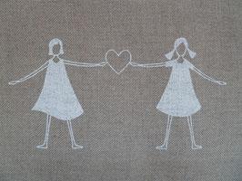 Leinenband natur - Mädchen mit Herz weiß (16cm)