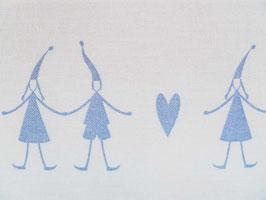 Leinenband gebleicht - Wichtel mit Herz blau (16cm)