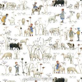 Baumwollstoff Winterkinder + Schafe